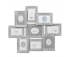 Marco para 9 fotos de madera gris 56 x 65 cm COLETTE