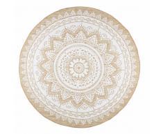 Alfombra de yute y algodón blanco D.180 cm MANDALA
