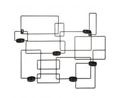 Candelabro de pared de metal negro Al. 48 cm THEARO
