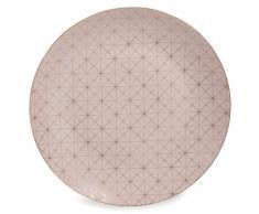 Plato llano de porcelana rosa D 27 cm OPALE