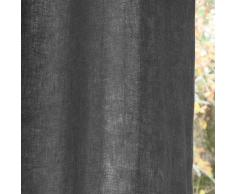 Cortina con ojales de lino lavado gris antracita 140 x 300cm