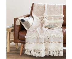 Colcha bereber de algodón beige 160x210