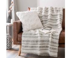 Colcha suave de lana en crudo con rayas 130 x160 cm TAORMINA
