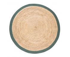Alfombra redonda trenzada de yute con contorno verde D180