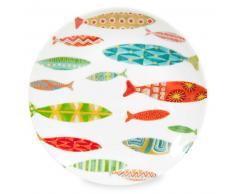Plato de postre de porcelana con motivos de peces LAGON