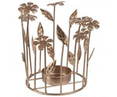 Candelabro de flores de metal dorado