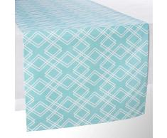 Camino de mesa de algodón azul L 150 cm VERA