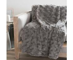 Colcha gris imitación piel 150 x 200 cm CAMANN