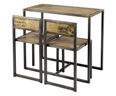 Mesa de comedor + 2 sillas de mango y metal An.90 Manufacture