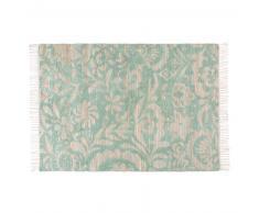 Alfombra de yute y algodón con motivos decorativos verdes 160x230