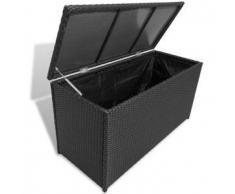 VidaXL Baúl negro de almacenaje, hecho poli ratán e impermeable