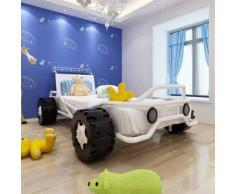 VidaXL Cama con forma de coche carreras para niños acero blanca 190x90 cm
