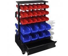 VidaXL Organizador de herramientas para pared Azul/ Rojo