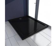 VidaXL Plato de ducha rectangular ABS, color negro, 80 x 100 cm