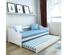 VidaXL Sofá cama / diván de madera pino 200x90 cm blanco