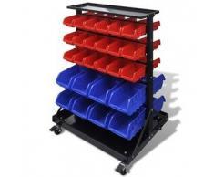 VidaXL Organizador de herramientas para pared con ruedas, Azul/ Rojo
