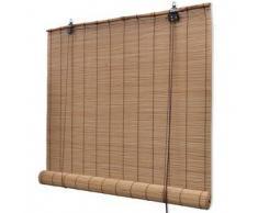 VidaXL Persiana / Estor enrollable marrón de bambú 80 x 160 cm