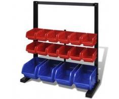 VidaXL Organizador de herramientas para pared con tira magnética, Azul/ Rojo