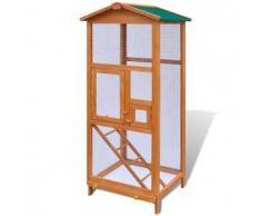 VidaXL Jaula de madera para pájaros Casa animal exterior ? 2 puertas