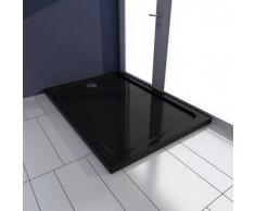 VidaXL Plato de ducha rectangular ABS, color negro, 70 x 100 cm