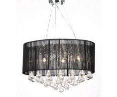 VidaXL Lámpara colgante de techo, negra con 85 cristales