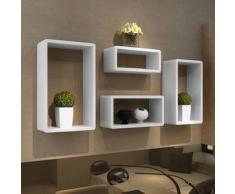 VidaXL Set de estante 4 en forma cubo blanco