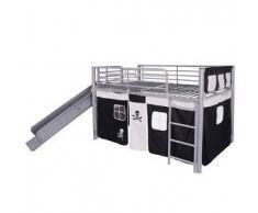 VidaXL Cama alta de acero con tobogán y escalera 200x100 cm negra