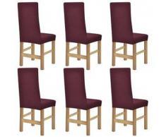 VidaXL fundas elásticas para sillas con respaldo 6 unidades (Borgoña)