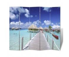 VidaXL Biombo con diseño de playa, 200 x 180