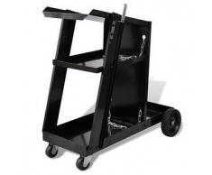 VidaXL Carrito de Soldadura Carro Negro con 3 Estantes Organizador Taller