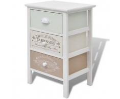 VidaXL Armario de almacenaje francés raído y elegante 3 cajones madera