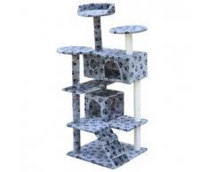 VidaXL Rascador para gatos 130 cm 2 casas gris con diseño de huellas