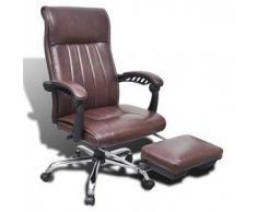 VidaXL Silla de oficina marrón cuero artificial con reposapiés ajustable