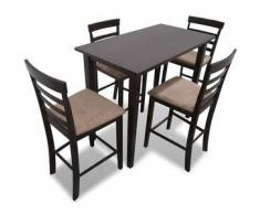 VidaXL Set mesa de bar madera con 4 sillas, Marrón
