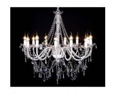 VidaXL Lámpara de araña colgante, candelabro metal con 1600 cristales