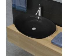 VidaXL Lavabo Oval de cerámica negra lujo con desagüe, 59 x 38,5 cm