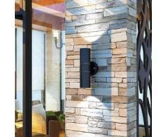 VidaXL Aplique LED de pared acero inoxidable para interior/exterior, negro