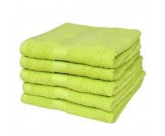 VidaXL 5 Toallas de algodón color verde manzana, 70 x 140 cm, 500gr/m²