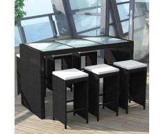 VidaXL Set de bar para jardín ratán poliéster negro 13 piezas