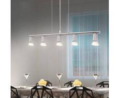 VidaXL lámpara de techo con 5 focos LED níquel satinado