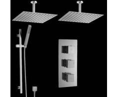 Hudson reed Sistema Ducha Completo Llave Mezcladora Termostática y 2 Alcachofas