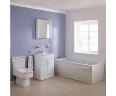 Hudson reed Conjunto de Mobiliario de Baño Completo con Mueble de Lavabo, Bañera Acrílica y WC con Tapa y Cisterna