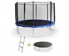 Alice s garden Saturne XXL - Cama elastica Azul, trampolin para niños, 370cm, Estructura reforzada aguanta 150kg