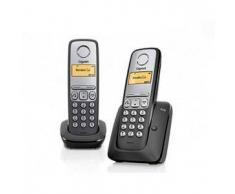 Siemens Gigaset A230 DUO negro/plata Gigaset Gigaset A230 DUO negro/plata Teléfono Inalámbrico - Manos libres - Agenda 80 registros - Id. de llamada - Autonomía: 18