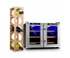 Klarstein Reserva Saloon Conjunto de 2 piezas de nevera y estantería para vino