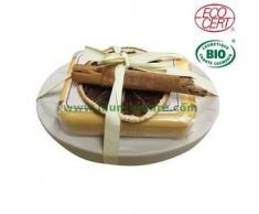 FLORAME Jabón tradicional de Canela-Naranja Bio + jabonera