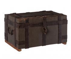 Baúl pequeño de hierro y madera