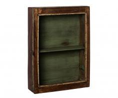 vitrina vintage de fondo verde y cristal