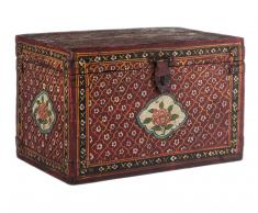 Baúl de madera pintado a mano floreado