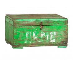 Baúl verde con cadena dentro
